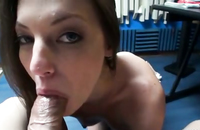 Deep throat blowjob for a lucky young boy who happens to shoot sexy pov videos with his young and skinny babe featuring in it as a leading character