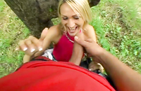 She gives a blowbang to a great extent. Watch how this big cock disappears in the throat of this slutty blonde babe.
