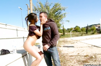 Stunning sporty girl is nailed outdoors with a horny ex boyfriend